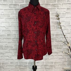 Nomadic Traders Co Women's Red Paisley Button Up